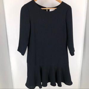 Sezane Black Peplum Tunic Mini Dress Top